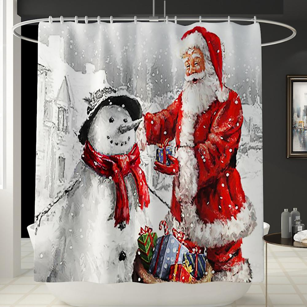 Santa Claus Printed Bathroom Curtain Set Made Of Flannel Material For Toilet And Bathroom 2