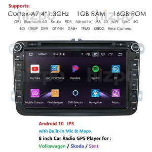 16GB IPS Android 10 2Din 8'' Car Radio Player for Volkswagen VW Passat B6 Golf Tiguan GPS Navigation with DVD WIFI SWC RDS BT