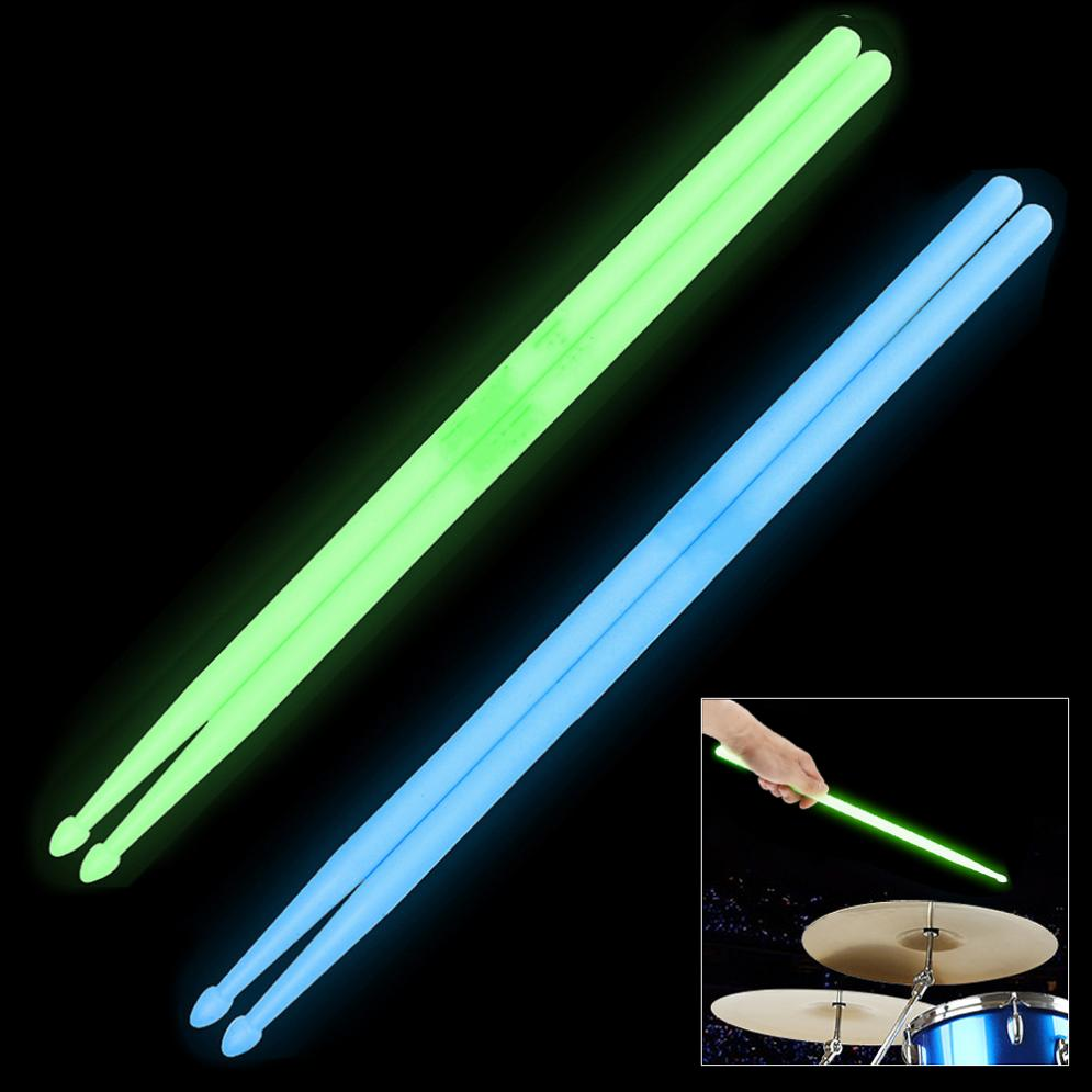 Durable Noctilucent 5A Drum Stick Glow In The Dark Stage Performance Luminous Drumsticks 2 Colors Optional