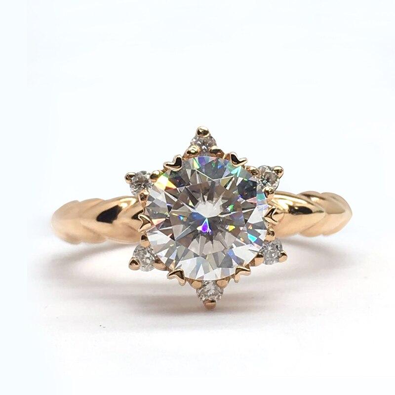 14K bague en or Rose fleur style Moissanite bague de mariage anniversaire laboratoire diamant fait style romantique