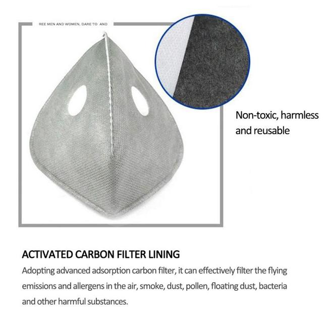 6 Layer Air Cleaner Dust Pollution PM 2.5 Smog Mask Filter Activated Carbon Mask Filter for Cycling Bike Bicycle Masks Valve Cap 1