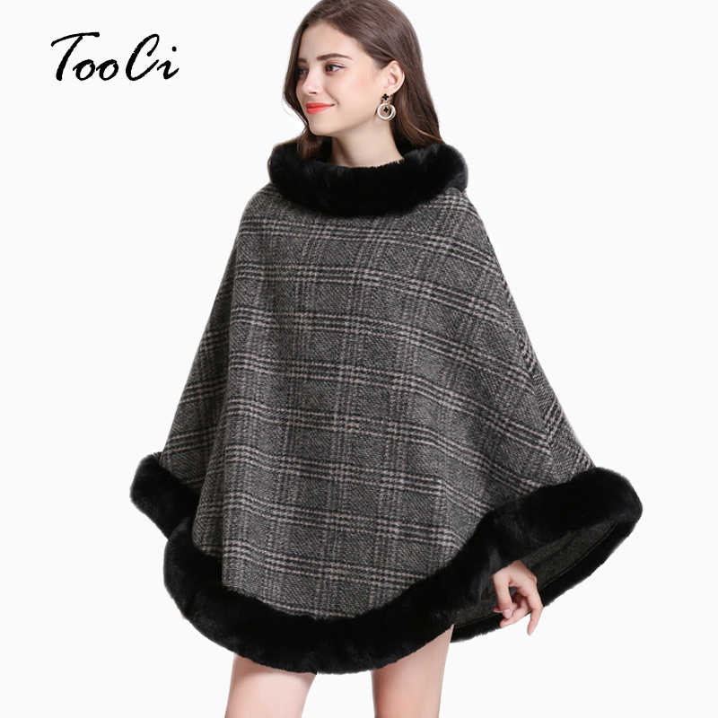 Women Autumn Winter Faux Fur Pullover Bat Sleeve Ponchos And Capes Black Round-Neck Knit Sweater And Pullovers Faux Fur Coat