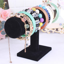 Portable Beludru/PU Kulit Gelang Bangle Kalung Display Stand Pemegang Watch Organizer Perhiasan T-bar Rak Dropshipping(China)