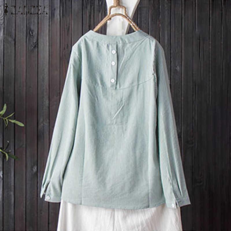 Camisas listradas femininas zanzea 2020 senhoras blusas de linho de algodão casual manga longa túnica topos botões com decote em v chemise plus size 5xl