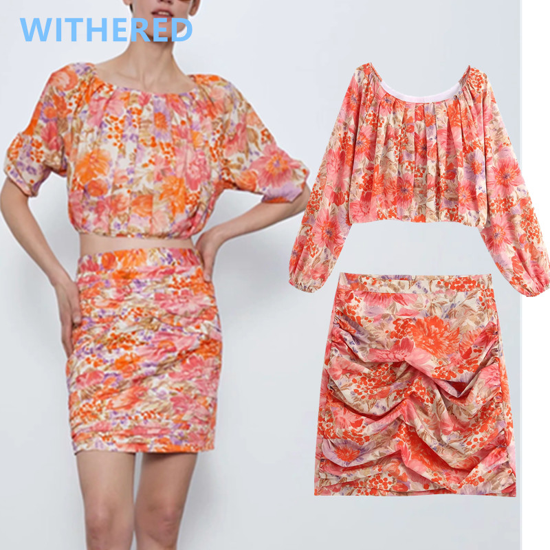 Withered England High Street Vintage Floral Print Pleate Short Blusas Blouse Women And Sexy Mini Skirt Women Faldas 2 Pieces Set