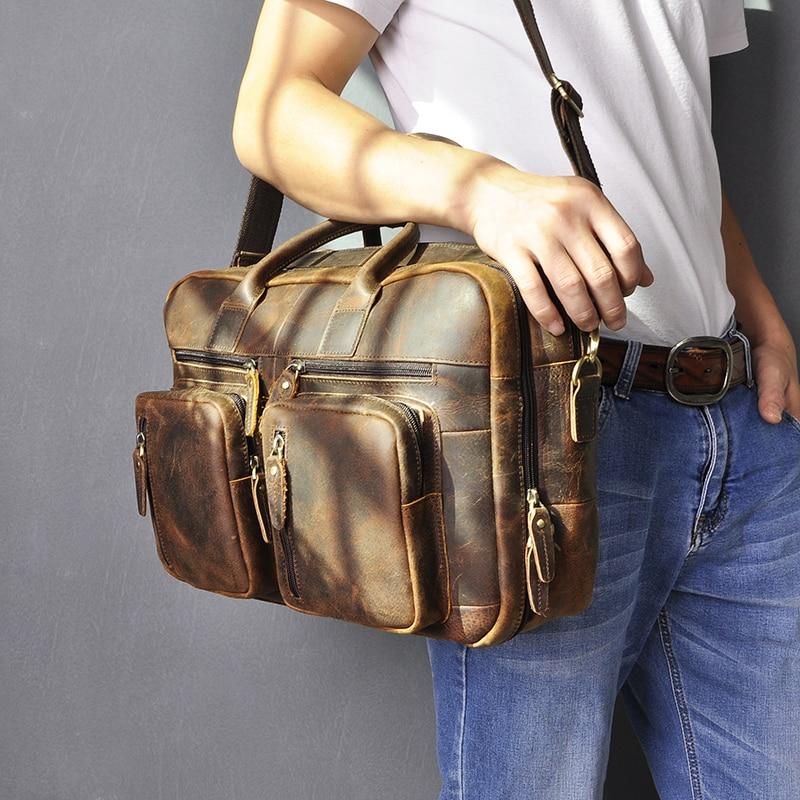 H34f369c3003946ca84304b947bc4eab1A Men Oil Waxy Leather Antique Design Business Travel Briefcase Laptop Bag Fashion Attache Messenger Bag Tote Portfolio Male k1013