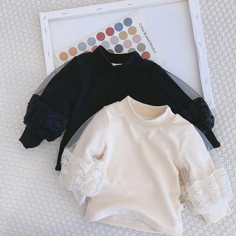 New Baby Girls Clothes Autumn Winter Turtleneck Princess Sweaters Puff Lantern Sleeve Pullovers Kids Tops Warm Children Korean 1