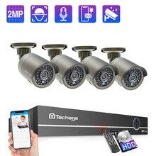 Techage 4CH 1080P POE Della Macchina Fotografica NVR Sistema di 2MP Audio Audio CCTV Video Surveillance Kit Intemperie di Video Telecamera di Sicurezza A Casa set
