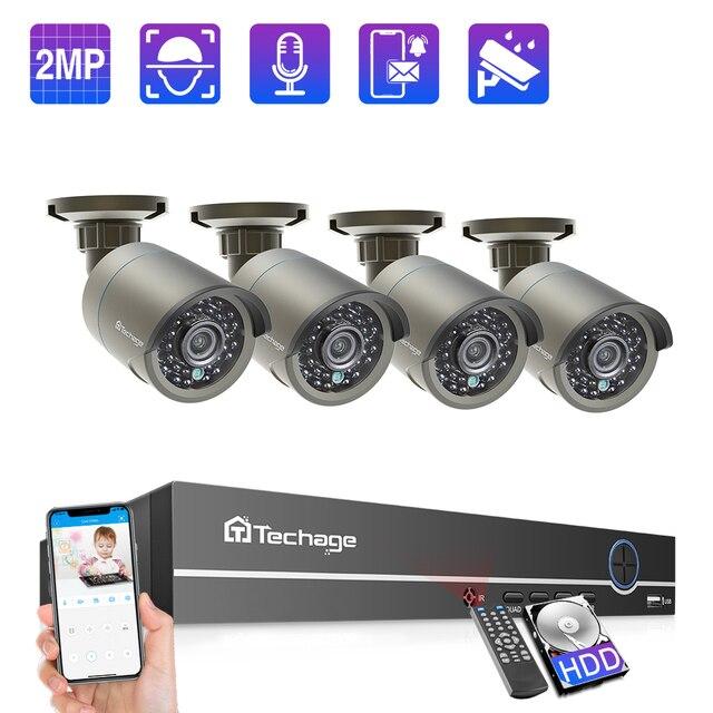Techage 4CH 1080P POE kamera NVR sistemi 2MP ses ses CCTV Video gözetim kiti hava koşullarına dayanıklı Video ev güvenlik kamerası seti