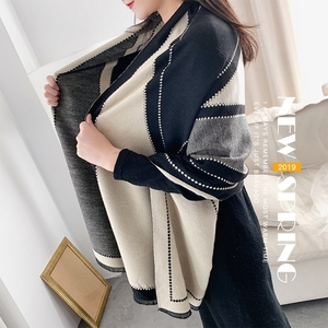 Image 2 - 2020 luxe femmes hiver écharpe Tartan motif soie sentiment Modal cachemire châle Femme tricot laine couverture Pashmina dames Echarpe