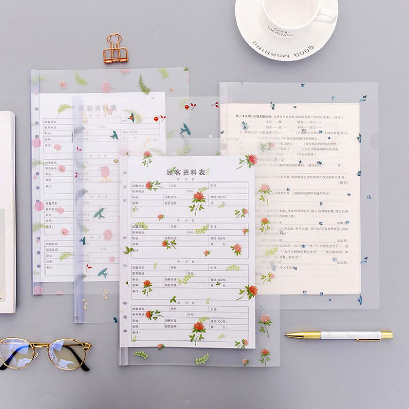 1 Pcs Kawaii A4 Flower File Folder Information Report Folders Spine Bar Leaves Organizer Paper Holder Office School Supplies
