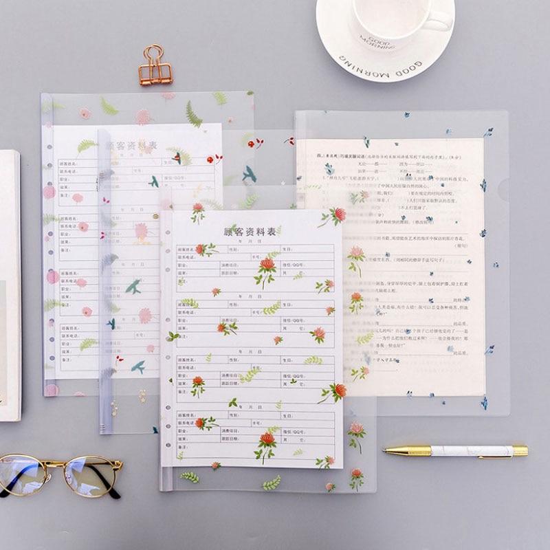 1 Pcs Kawaii A4 Flower File Folder Information Report Folders Spine Bar Leaves Organizer Paper Holder Office School Supplies