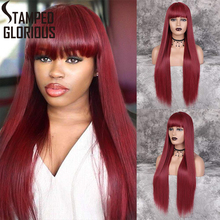 Stamped Glorious Long Straight Black Wig with Bangs Ombre Re