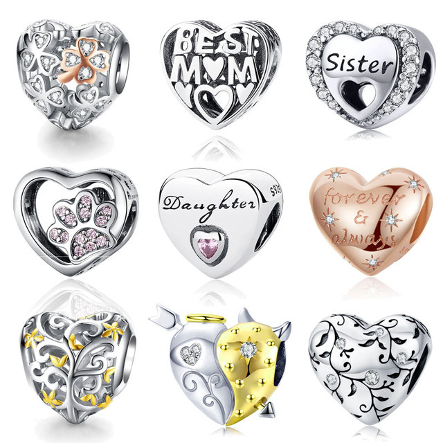 925 Sterling Silver Engraved Tribute To Mom Clear CZ Charms