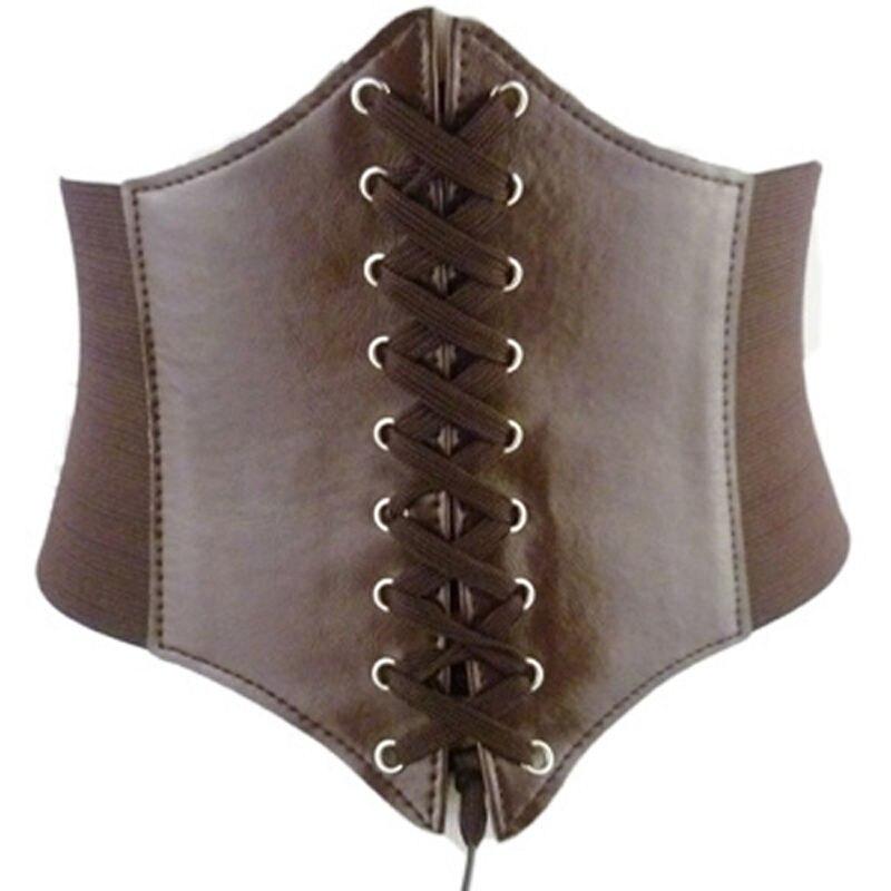New Fashion Women Elastic Buckle Wide Waistband Waist Adjustable Corset PU Leather Belt