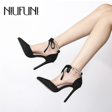 Pointed Toe Ankle Strap Women's Sandals Pearl D'orsay Shoes NIUFUNI Stiletto High Heels Fashion Lace Up Wedding Shoes For Women faux pearl pointed toe stiletto heels