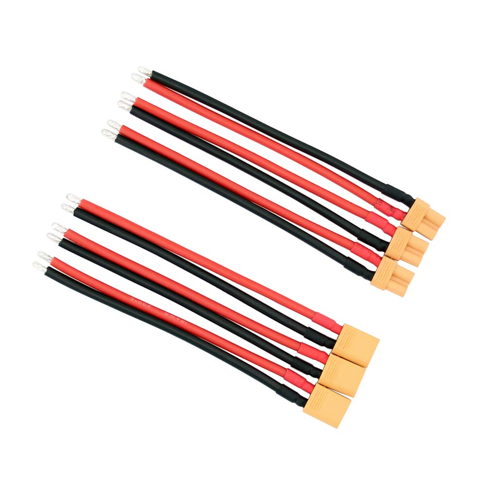 XT30 Pigtail Plug Male And Female Connector With 100mm/150mm 16AWG Tinned  Wire Cable  For RC Lipo Battery FPV Drone Charger