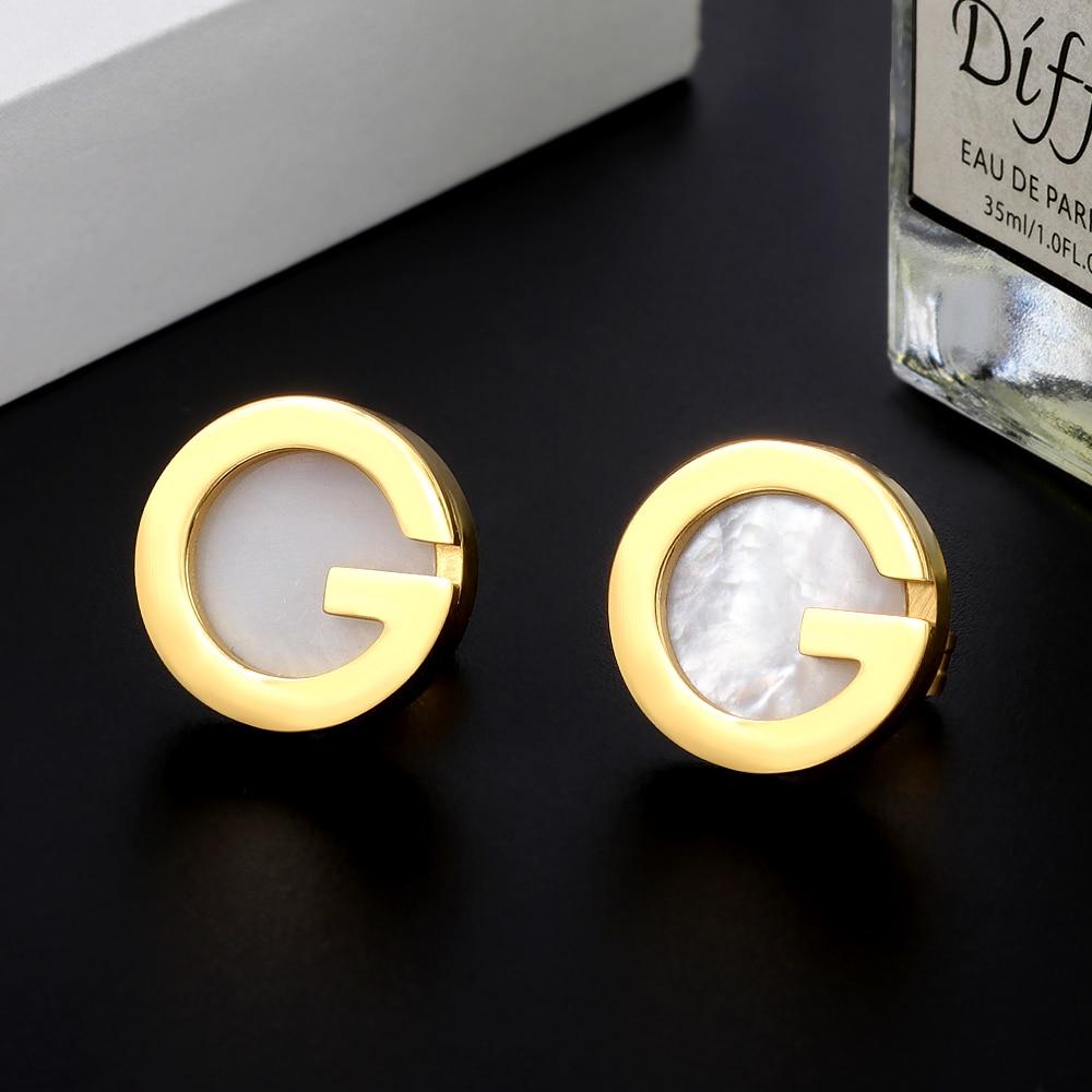 MSX Famous Brand Earrings Luxury Golden Letter G Round Earrings Cute Bohemian Gold Color Stainless Steel Stud Earrings For Women Drop Earrings  - AliExpress