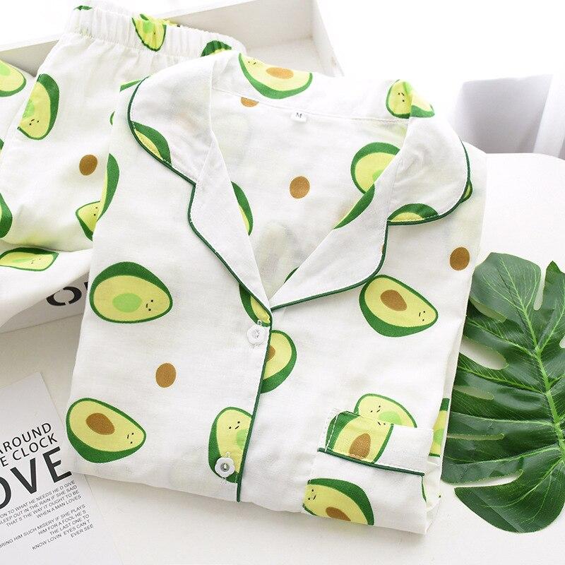 Japan's New Spring and Summer Women's Pajamas Cotton Comfortable Women's Long Sleeve Pajamas Set Casual Cardigan Home Wear