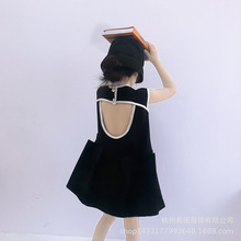 2020 spring and summer new girls dress Korean sleeveless vest open back dress niche design