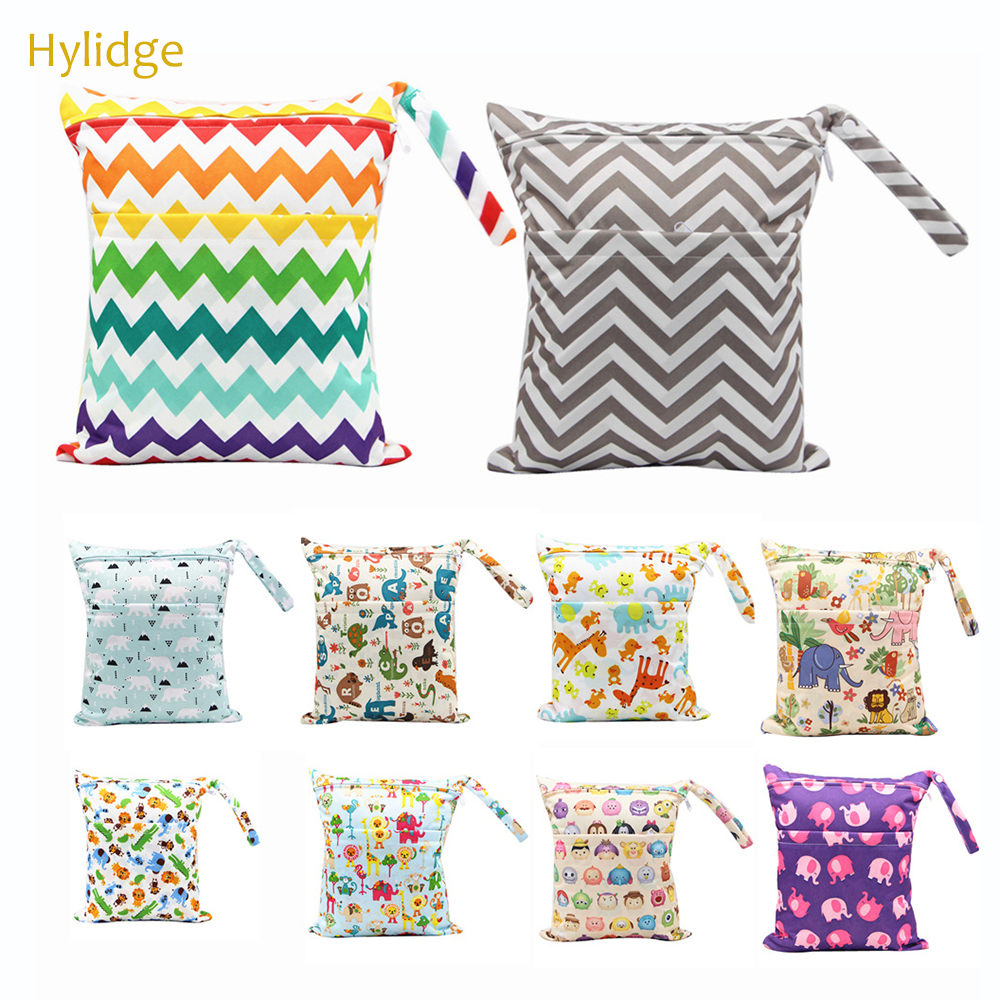 Hylidge Printed Double Pocket Diaper Bag Waterproof Wet Bag Baby Nappy Bags Laundry Bag For Baby Cloth Diaper Reusable Snack Bag