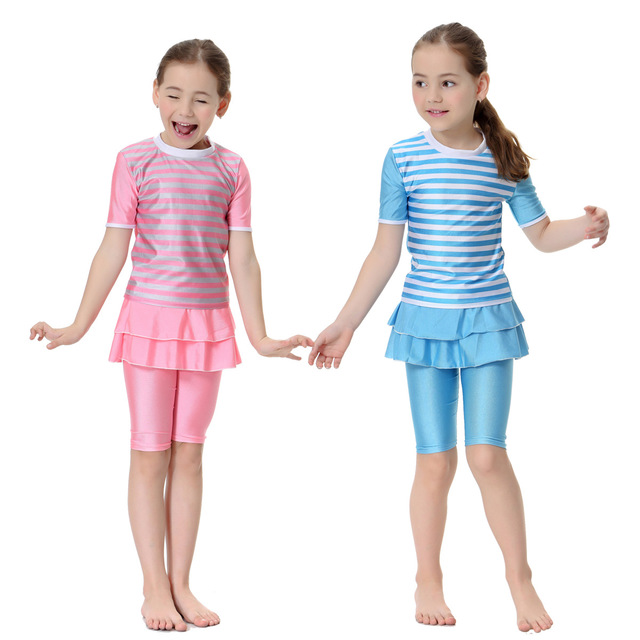 Girls Muslim Swimsuit Islamic Children Islam Sweet Striped Print Bathing Swimming Suit Beach Set Burkinis Kids Hijab Clothing