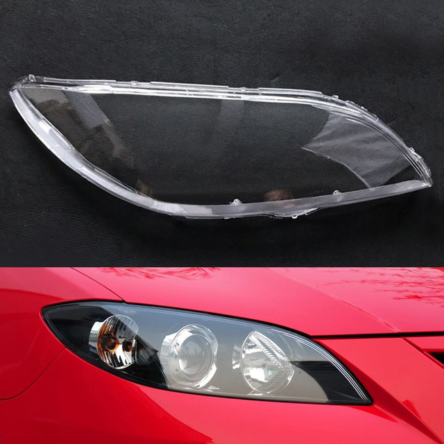 VXAOHONG ABS Car Front Head Light Lamp Cover Fit For Mazda 3 2006-2012 Headlight Head Light Lamp Waterproof Clear Lens Auto Shell Cover Auto Accessories