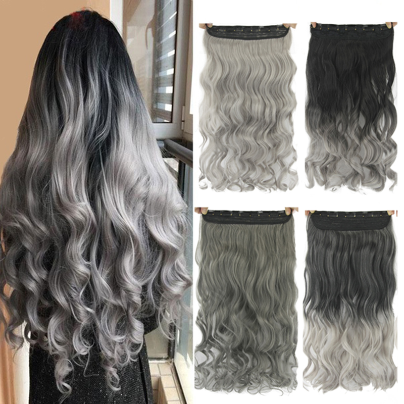 Gres Women 24inch Long 5 Clip-in Hair Pieces Wavy Grey Ombre Synthetic Hair Extensions High Temperature Fiber Smoky Gray Color image