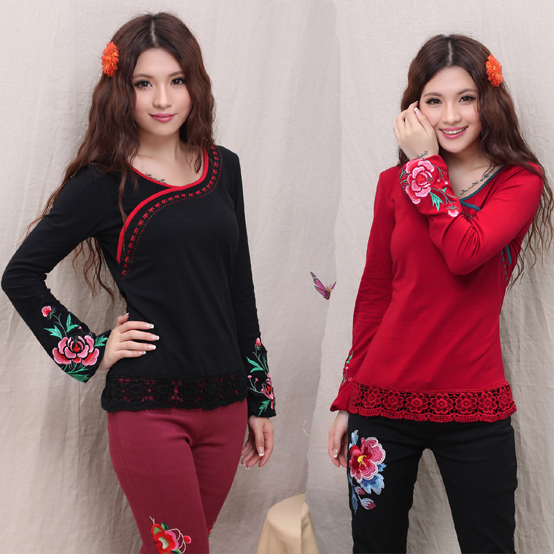 New National Trend Women Slim Basic O-neck Long-sleeve Cotton Shirt Female Embroidered T-shirt Vintage All-match Pullover Tops