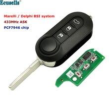 3 כפתור מרחוק רכב מפתח לשאול 433Mhz עבור פיאט 500 גרנדה פונטו Doblo Qubo Marelli BSI או עבור דלפי BSI מערכת PCF7946 שבב