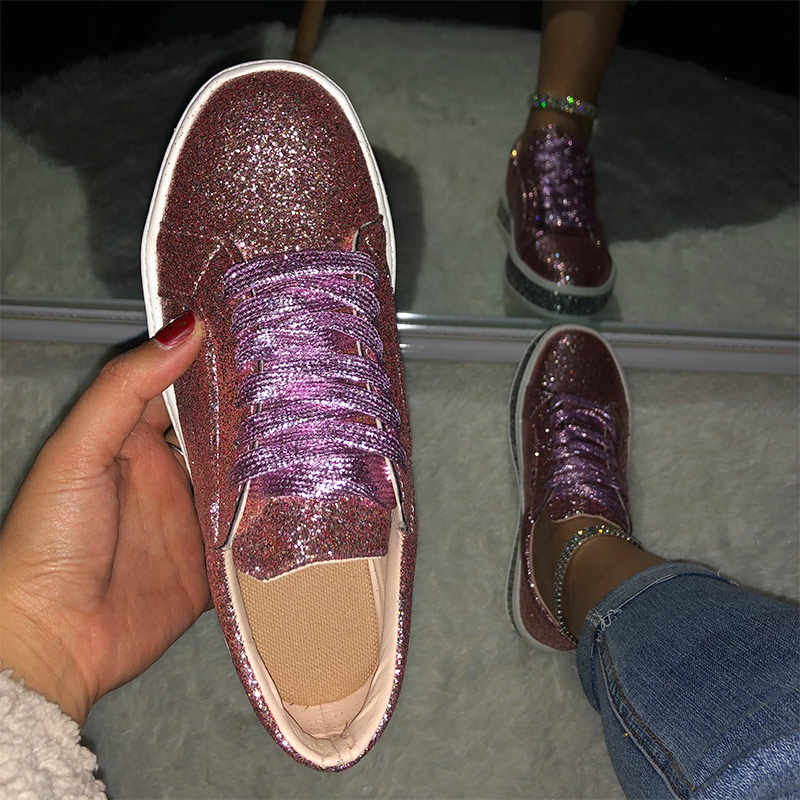 Frauen Glitter Turnschuhe Bling Wohnungen Frau Frühling Neue Casual Damen Vulkanisierte Schuhe Weibliche Beathable Spitze Up Fashion Casual Schuhe