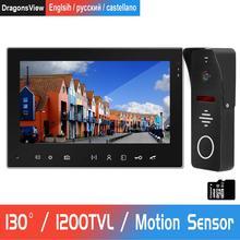 Видеодомофон для домашнего домофона 7 дюймов внутренний монитор 1200TVL уличная камера с детектором движения запись домофон система