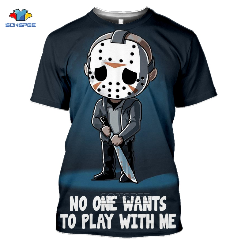 SONSPEE Horror Friends <font><b>Pennywise</b></font> <font><b>Tshirt</b></font> Homme 3d Print Michael Myers Jason Voorhees Halloween T Shirt Women It's Friday <font><b>Tshirts</b></font> image