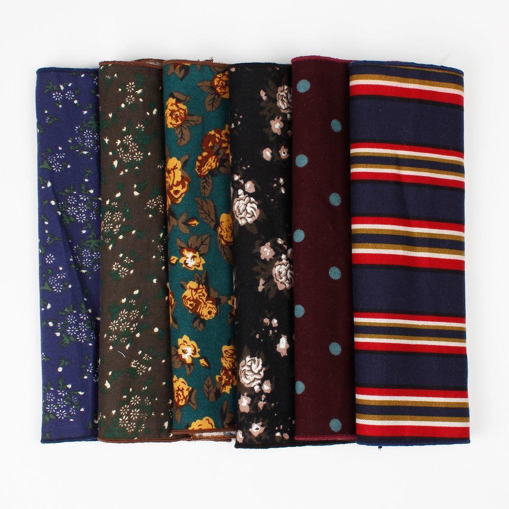 Linbaiway Men's Suits Handkerchief Square Scarf Floral Printed Pocket Towel Cotton Handkerchief Hanky Chest Towel Custom LOGO