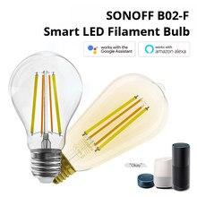 Sonoff 7w e27 B02F-ST64/B02-F-A60 inteligente wifi filamento lâmpada led luz funciona com ewelink app para google assistente e alexa