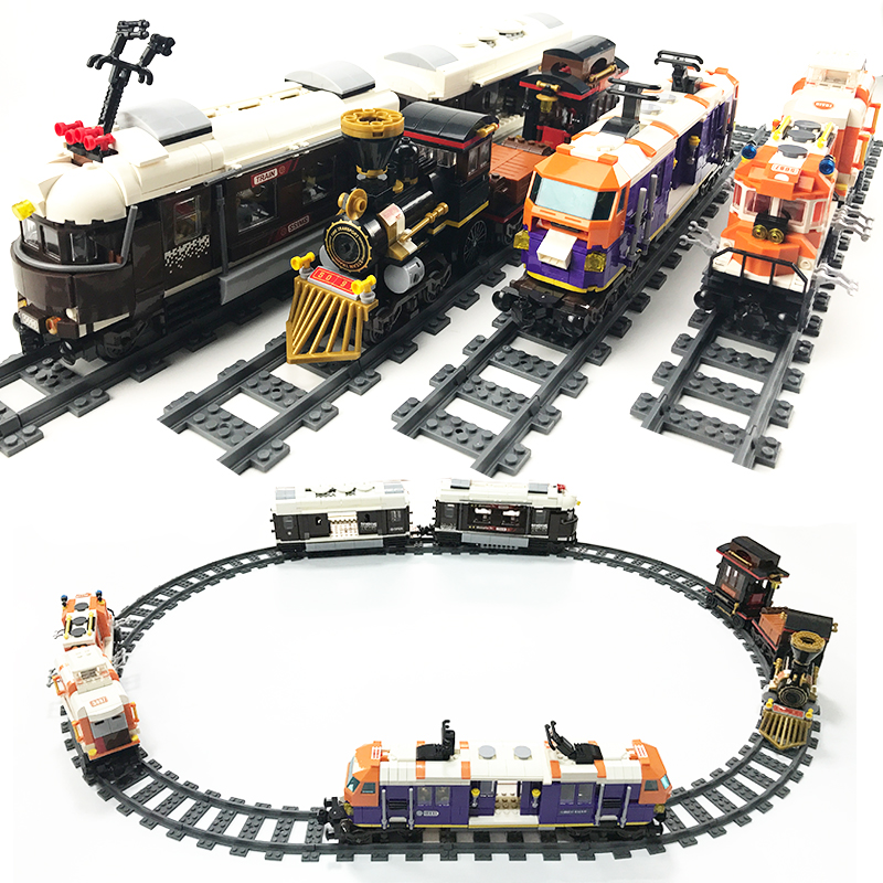 City Trains Train Track Rail Straight & Curved Rails Building Blocks Kits Bricks Toys For Kids Christmas Gifts Compatible Legoes