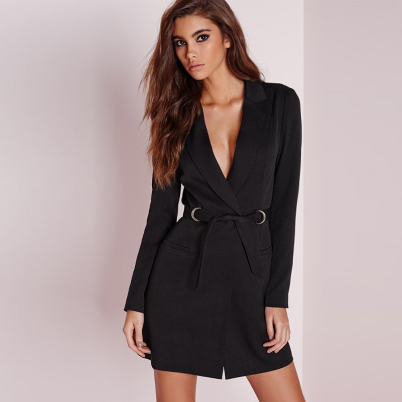 Hot Sell Fall Spring Fashion Slim Fit Bandage Single Button Deep V-neck Blazers Long Sleeve Suit Black Coat with Pockets Sashes