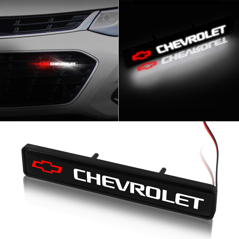 1pcs ABS Chrome Front Hood Grille Emblem Badge LED Decorative Lights For Chevrolet Cruze Captiva Lacetti Aveo Niva Trax Onix
