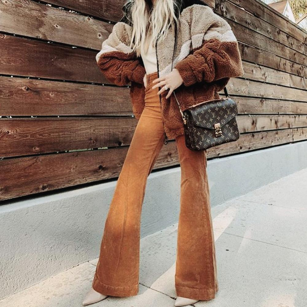 Corduroy Casual Pants Women Hight Waisted Skinny Stretch Slim Pants 2020 New Spring Fashion Bell Bottoms H1