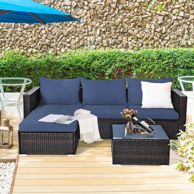 5PCS Patio Rattan Furniture Set Sectional Conversation Sofa w/ Coffee Table HW66521 4
