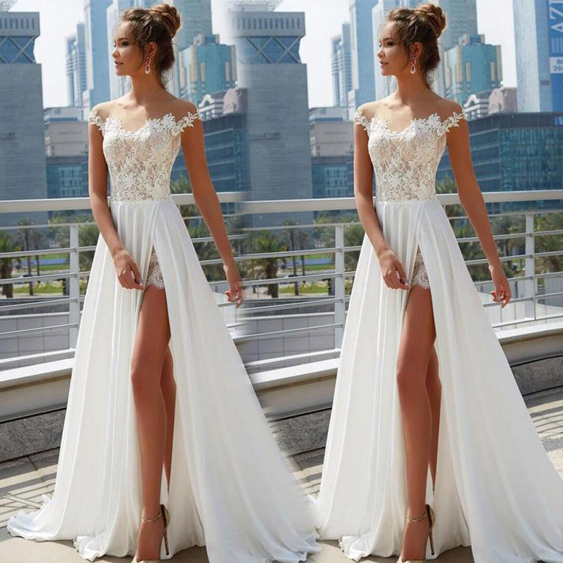 2019 European And American-Style New Style Women's Clothing Lace Slit Dress Dress Dress