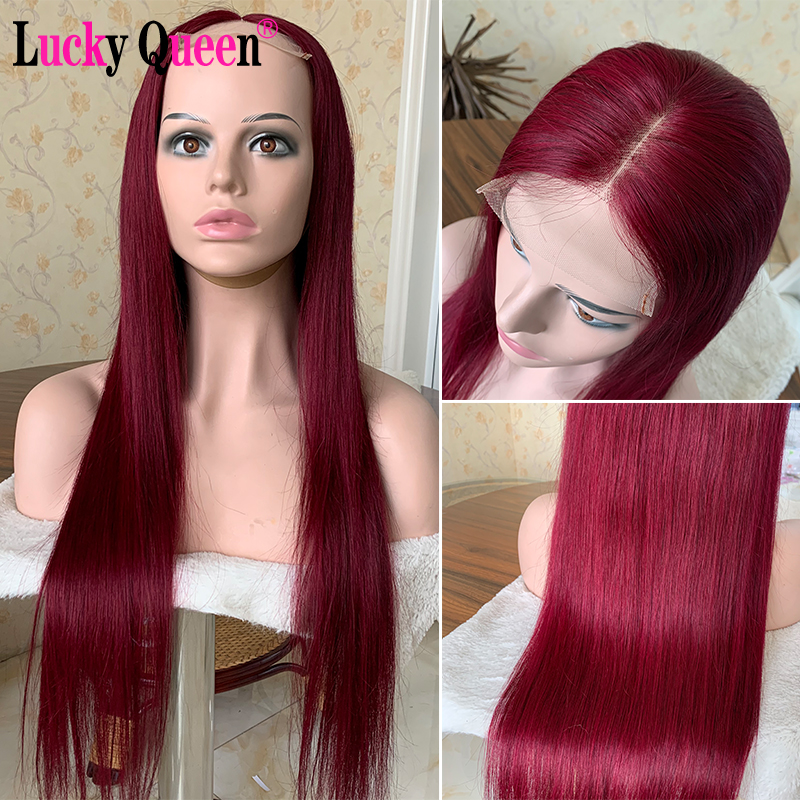 Lucky Queen  Brazilian Straight Remy Hair Wigs 99J Colored 4x4 Lace Closure Human Hair Wig For Black Women High Ratio