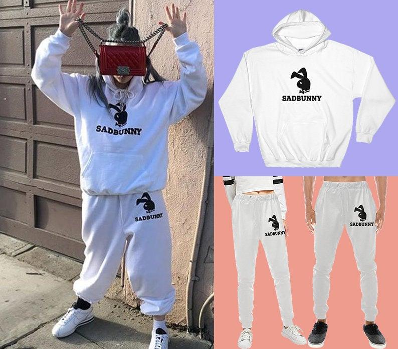 Sad Bunny Sweatshirt Set Billie Eilish Sadbunny Hoodie And Sweatpants Women Men Casual Joggers Tracksuit Fleece Streetwear