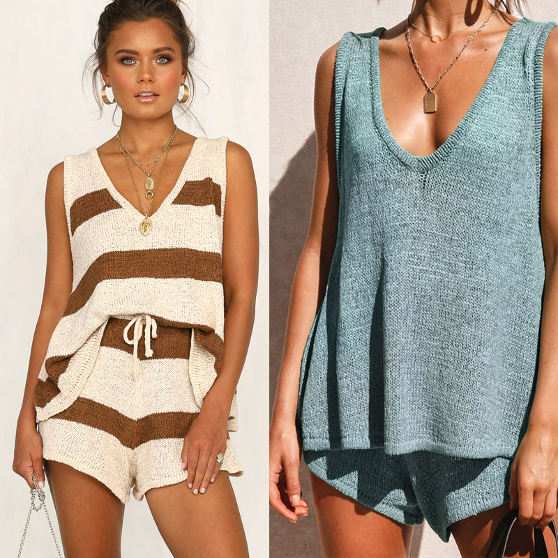 Fashion Summer Women Lace-up Kinted Two Piece Set Casual V-neck Tank Top & Short Pants Loose Striped 2 Piece Set Ladies Outfits