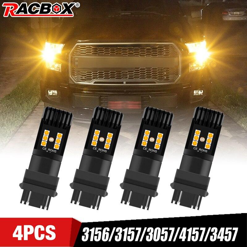 Luces Led amarillas para coche, 3156, 3157, 4157, 4057, luz de freno, intermitente de estacionamiento, Luz Ámbar, 12V, 1300LM