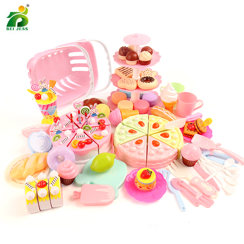 Educational-Toys Kitchen-Toy Food-Stand-Set Miniature Cake Pretend-Play Birthday Plastic