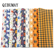 QIBUMAY Vinyl Fabric Leather Sheet Halloween Printed Faux for Bows Festival Decoration 22*30cm Synthetic