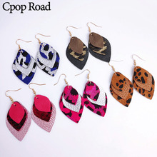 Cpop Multilayer Genuine Sheep Cowhide Leather Feather Earrings Glitter Statement Leopard Jewelry Women Accessories Gift