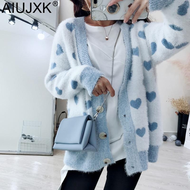 AIUJXK Cute Heart Mohair Sweaters Women Fashion Long Sleeve Knitted Cardigan Female Korean Style Casual Coat Autumn Winter Pink