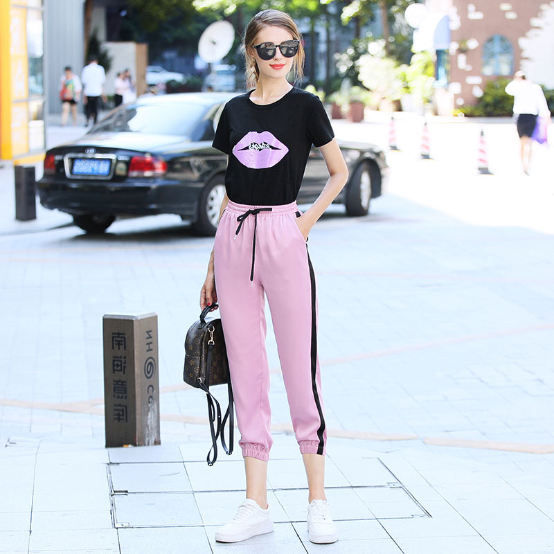 2019 Summer Wear WOMEN'S Dress New Style Sequin Lips T-shirt + Capri Ankle Banded Pants-Style Set